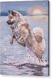 Acrylic Print featuring the painting Eurasier In The Sea by Lee Ann Shepard
