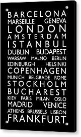 Europe Cities Bus Roll Acrylic Print by Michael Tompsett