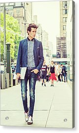European College Student Studying In New York Acrylic Print