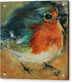 Acrylic Print featuring the painting European Robin 2 by Jani Freimann
