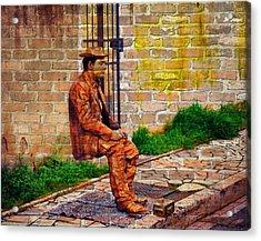 European Street Performer Acrylic Print by Digital Art Cafe