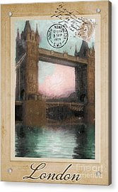 European Vacation Postcard London Acrylic Print by Mindy Sommers