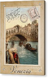European Vacation Postcard Venice Acrylic Print by Mindy Sommers