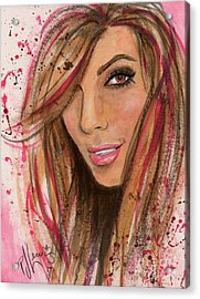 Acrylic Print featuring the painting Eva Longoria by P J Lewis