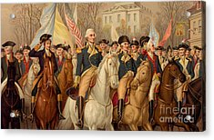 Evacuation Day And Washington's Triumphal Entry In New York City Acrylic Print by American School