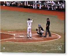 Evan Longoria - At The Plate Acrylic Print by John Black