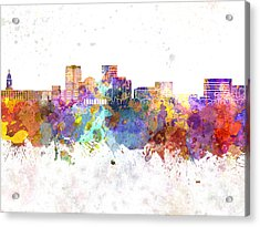 Evansville Skyline In Watercolor Background Acrylic Print by Pablo Romero