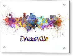 Evansville Skyline In Watercolor  Acrylic Print by Pablo Romero