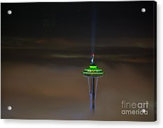 Eve Of The Superbowl Space Needle Acrylic Print
