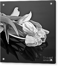 Even Tulips Are Beautiful In Black And White Acrylic Print by Sherry Hallemeier