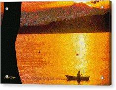 Evening At Lake - Da Acrylic Print by Leonardo Digenio
