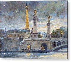 Evening At Pont Du Alexandre, Paris Acrylic Print