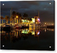 Evening At The Marina Acrylic Print by Kimberly Camacho