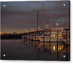 Evening At The Twin Dolphin Marina Acrylic Print by Kimberly Camacho