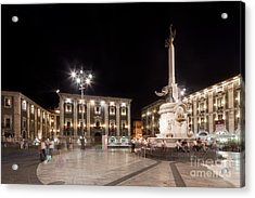 Evening Atmosphere At The Piazza Duomo In Catania Sicily Acrylic Print