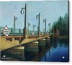 Acrylic Print featuring the painting Evening, Bayville Bridge by Susan Herbst