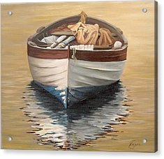 Acrylic Print featuring the painting Evening Boat by Natalia Tejera