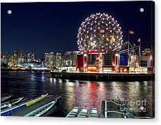 Evening By Science World Vancouver Acrylic Print