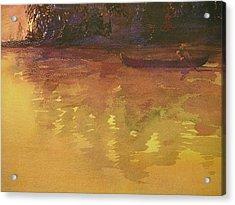 Evening Canoe Ride Acrylic Print by Walt Maes