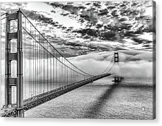 Evening Commute Black And White Acrylic Print by Dave Gordon
