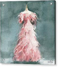 Evening Dress With Pink Feathers Acrylic Print