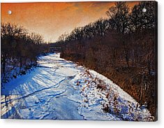 Evening Frozen Creek Acrylic Print