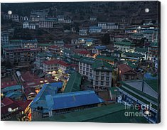 Acrylic Print featuring the photograph Evening In Namche Nepal by Mike Reid