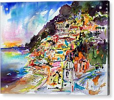 Acrylic Print featuring the painting Evening In Positano Italy by Ginette Callaway