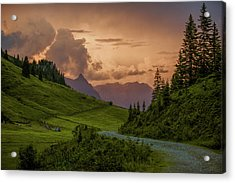 Evening In The Alps Acrylic Print by Nailia Schwarz