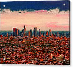 Evening In The City Of The Angels Acrylic Print by Timothy Bulone
