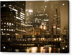 Evening In The Windy City Acrylic Print by Miguel Winterpacht