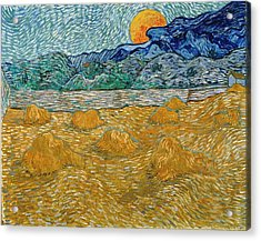 Acrylic Print featuring the painting Evening Landscape With Rising Moon by Van Gogh