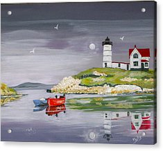 Acrylic Print featuring the painting Evening Lighthouse by Phyllis Kaltenbach