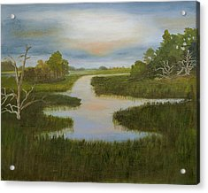 Evening Marsh Acrylic Print by Shirley Lawing