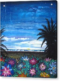 Tropical Evening Acrylic Print by Mary Ellen Frazee