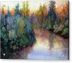 Acrylic Print featuring the painting Evening On The Willamette by Steve Henderson