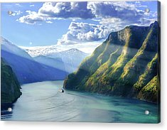 Acrylic Print featuring the photograph Evening Over Geirangerfjord by Dmytro Korol