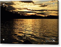 Acrylic Print featuring the photograph Evening Paddle On Amoeber Lake by Larry Ricker