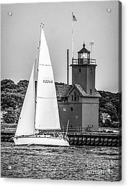 Evening Sail At Holland Light - Bw Acrylic Print
