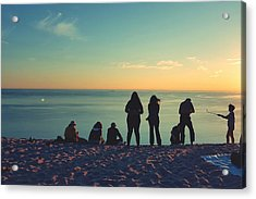 Evening Silhouettes At Lake Michigan Overlook Acrylic Print by William Slider