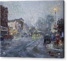 Evening Snowfall At Webster St Acrylic Print