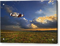 Evening Spitfire Acrylic Print by Meirion Matthias