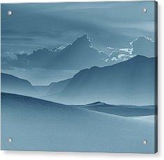 Evening Stillness - White Sands - Duvet In Blue Acrylic Print by Nikolyn McDonald
