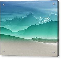 Evening Stillness - White Sands - Duvet In Sea Gradient Acrylic Print by Nikolyn McDonald