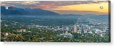 Evening View Of Salt Lake City From Ensign Peak Acrylic Print