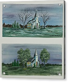 Evening Worship In Winter And Summer Acrylic Print by Charlotte Blanchard