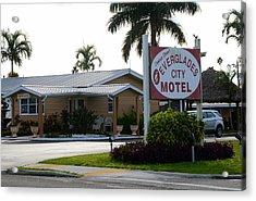 Everglades City Motel Sign Acrylic Print by David Lee Thompson