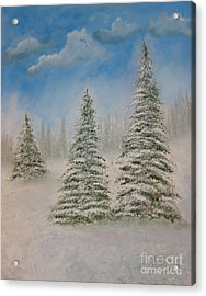 Evergreens In Snow  Acrylic Print