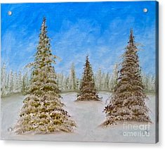 Evergreens In Snowy Field Enhanced Colors Acrylic Print