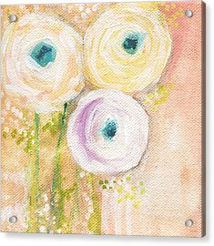 Everlasting- Expressionist Floral Painting Acrylic Print by Linda Woods